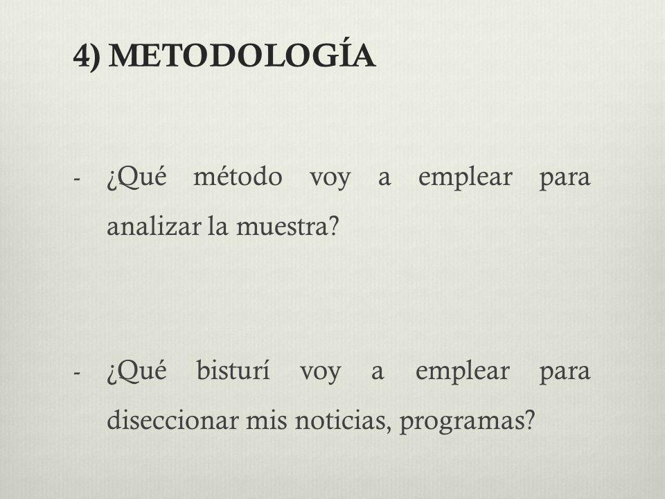 4) METODOLOGÍA ¿Qué método voy a emplear para analizar la muestra