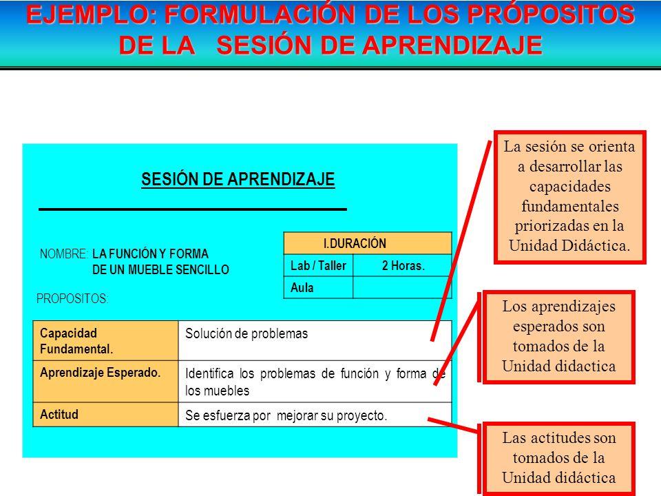 EJEMPLO: FORMULACIÓN DE LOS PRÓPOSITOS DE LA SESIÓN DE APRENDIZAJE