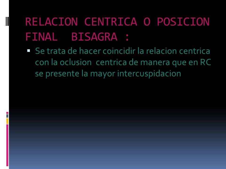 RELACION CENTRICA O POSICION FINAL BISAGRA :