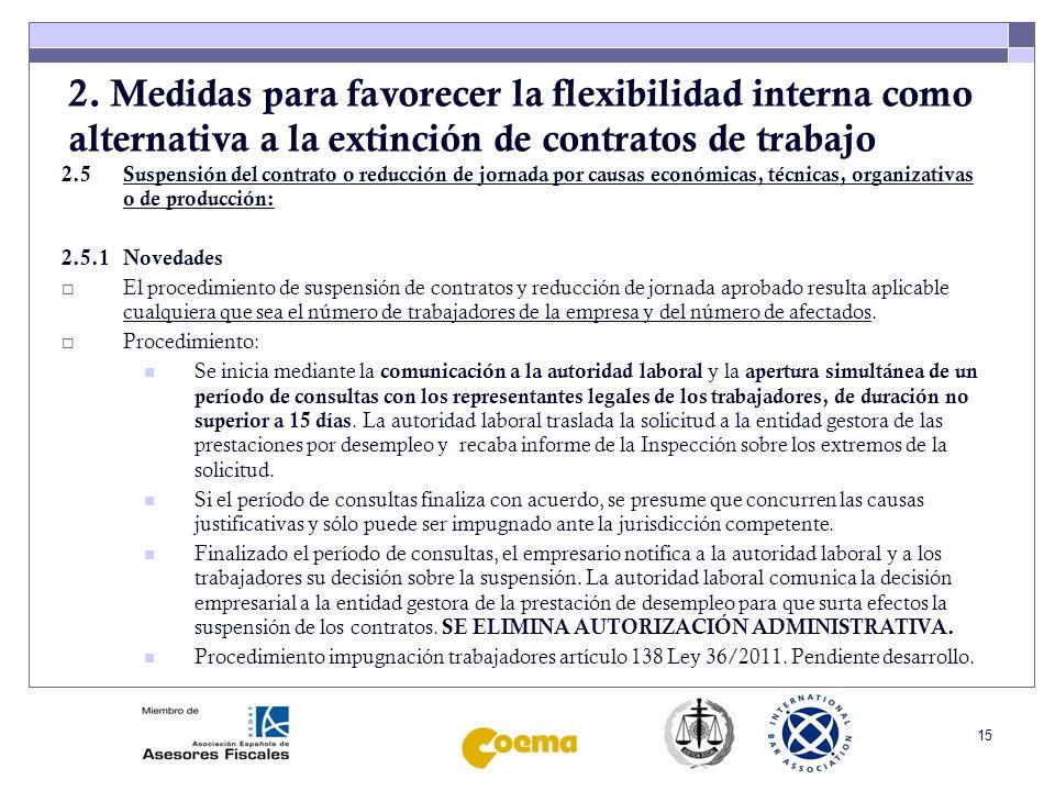 2. Medidas para favorecer la flexibilidad interna como alternativa a la extinción de contratos de trabajo