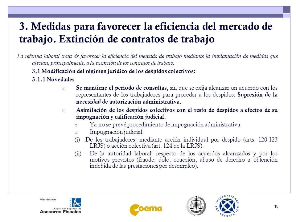 3. Medidas para favorecer la eficiencia del mercado de trabajo