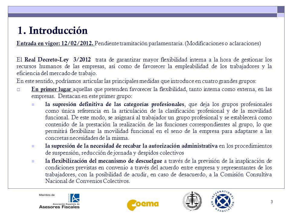 1. Introducción Entrada en vigor: 12/02/2012. Pendiente tramitación parlamentaria. (Modificaciones o aclaraciones)