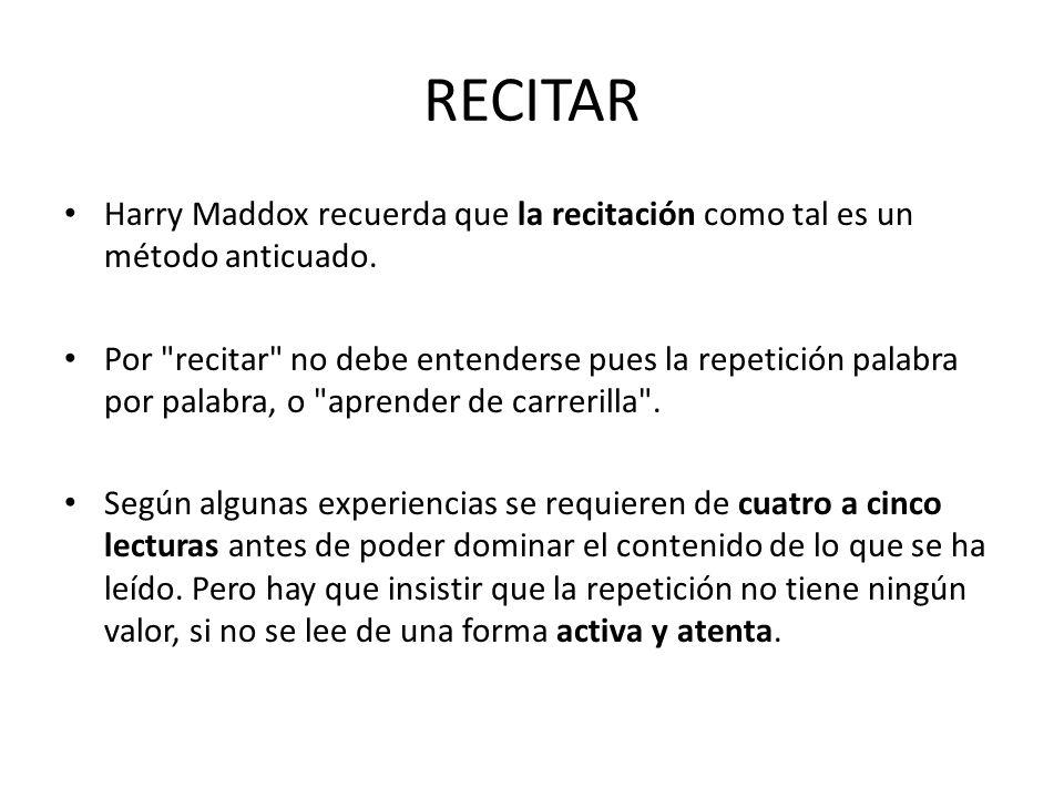 RECITAR Harry Maddox recuerda que la recitación como tal es un método anticuado.