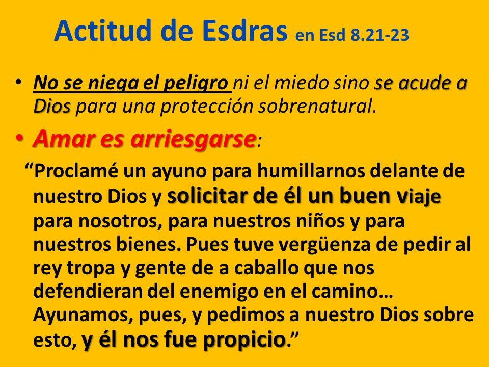 Actitud de Esdras en Esd 8.21-23