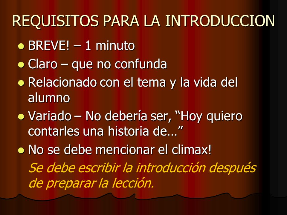 REQUISITOS PARA LA INTRODUCCION