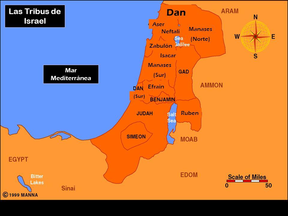 Dan Las Tribus de Israel Mar Mediterránea Aser Manases Neftali (Norte)
