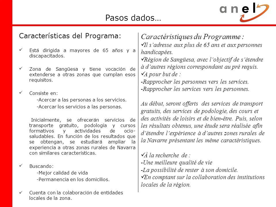Pasos dados… Caractéristiques du Programme :