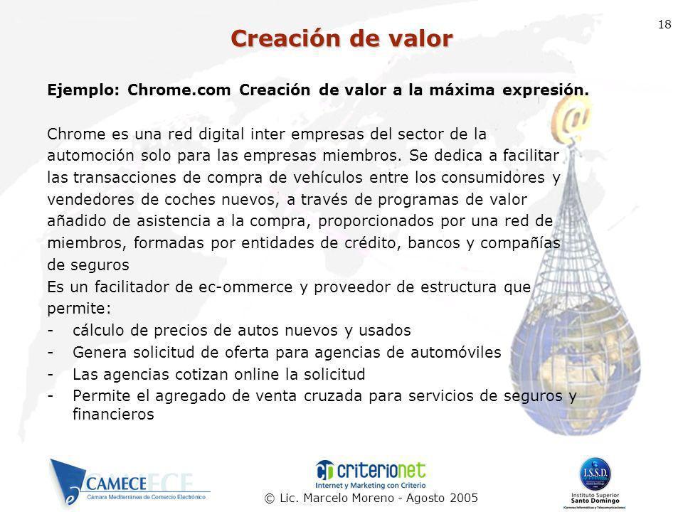 Creación de valor 18. Ejemplo: Chrome.com Creación de valor a la máxima expresión. Chrome es una red digital inter empresas del sector de la.