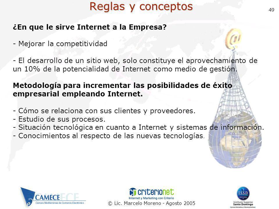 Reglas y conceptos ¿En que le sirve Internet a la Empresa