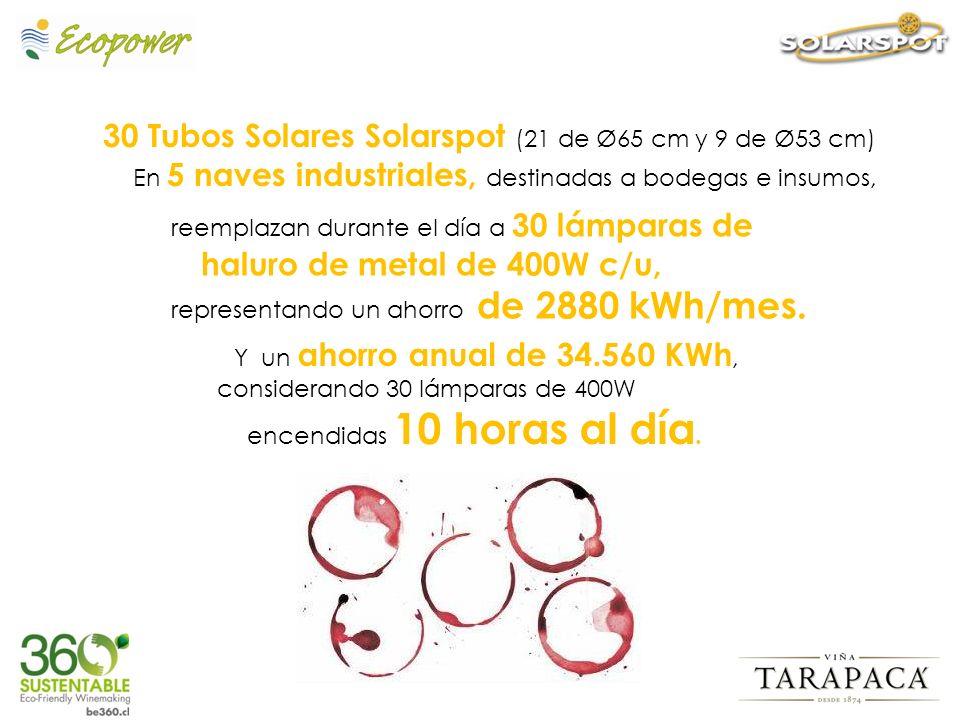 30 Tubos Solares Solarspot (21 de Ø65 cm y 9 de Ø53 cm) En 5 naves industriales, destinadas a bodegas e insumos,