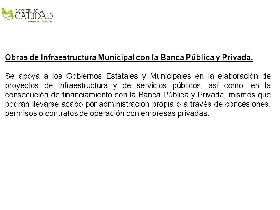 Obras de Infraestructura Municipal con la Banca Pública y Privada.