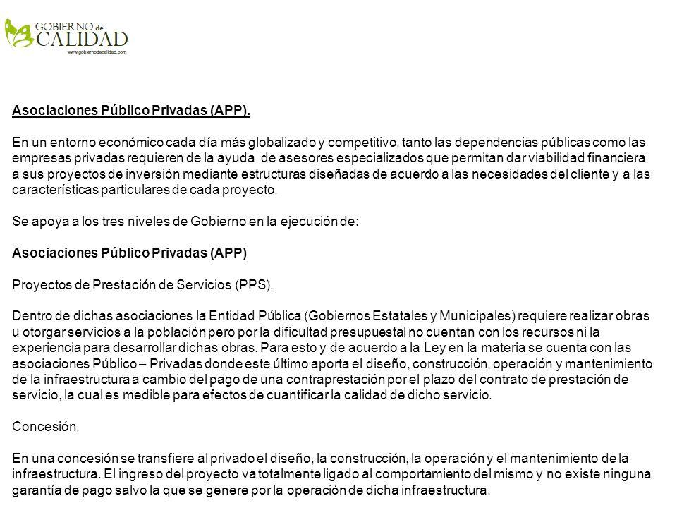 Asociaciones Público Privadas (APP).
