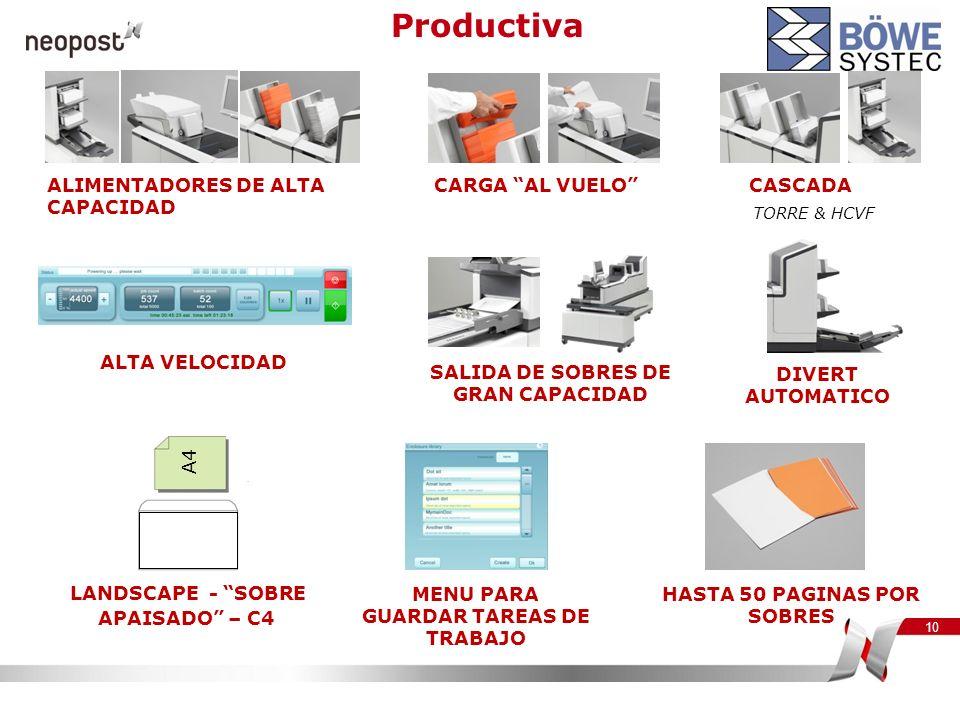 Productiva ALIMENTADORES DE ALTA CAPACIDAD CARGA AL VUELO CASCADA