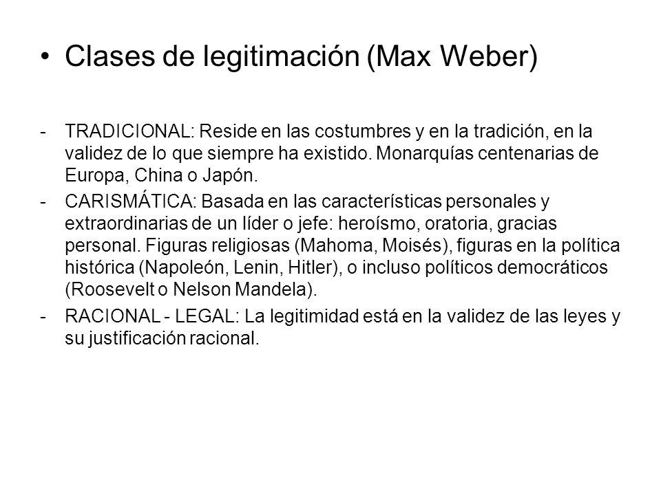 Clases de legitimación (Max Weber)
