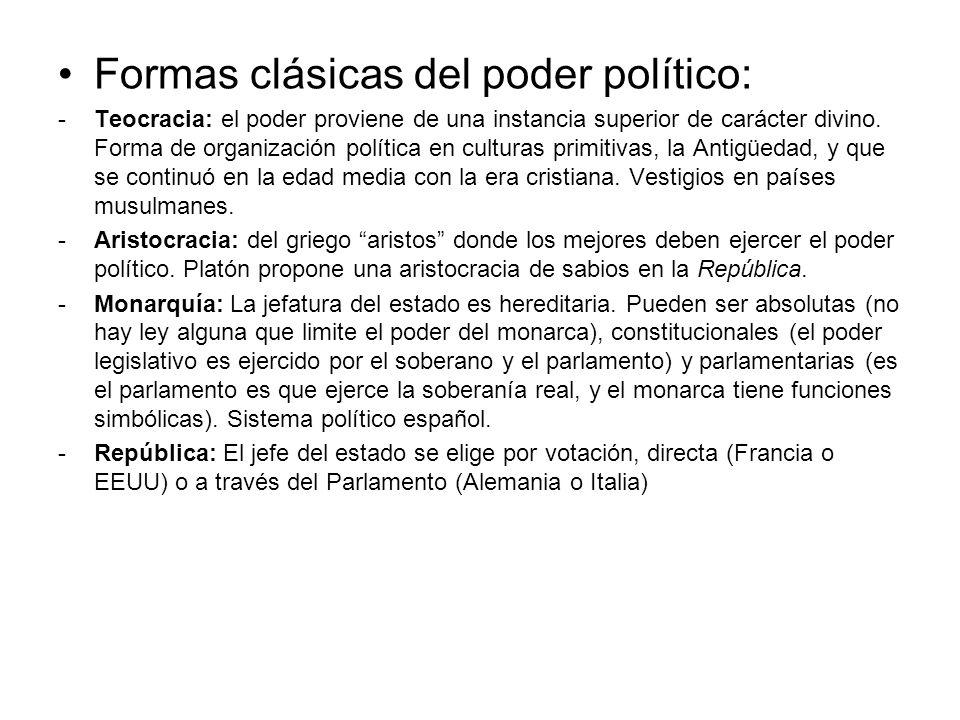 Formas clásicas del poder político: