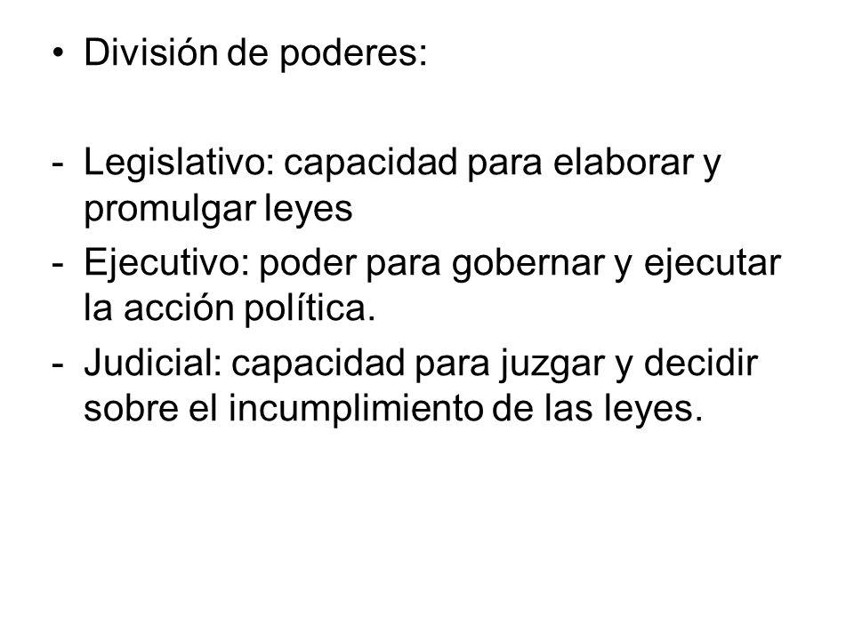 División de poderes:Legislativo: capacidad para elaborar y promulgar leyes. Ejecutivo: poder para gobernar y ejecutar la acción política.
