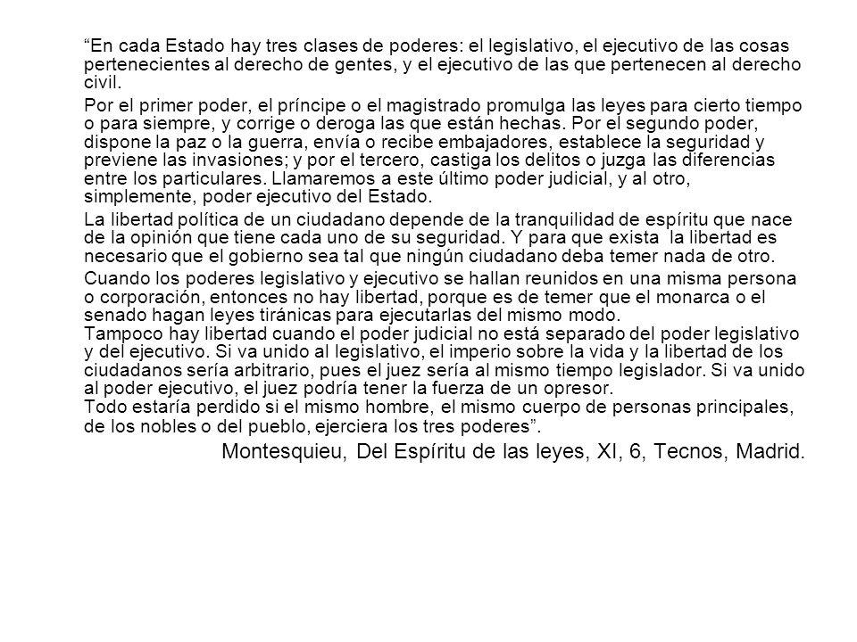 Montesquieu, Del Espíritu de las leyes, XI, 6, Tecnos, Madrid.