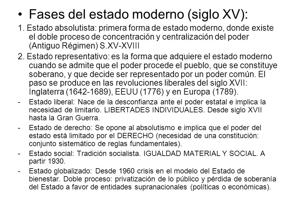 Fases del estado moderno (siglo XV):