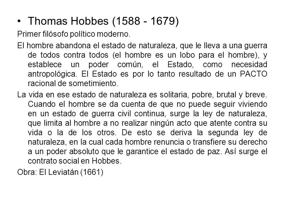 Thomas Hobbes (1588 - 1679) Primer filósofo político moderno.