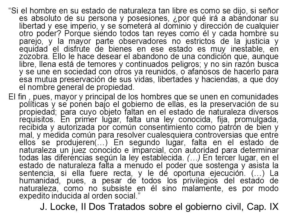J. Locke, II Dos Tratados sobre el gobierno civil, Cap. IX