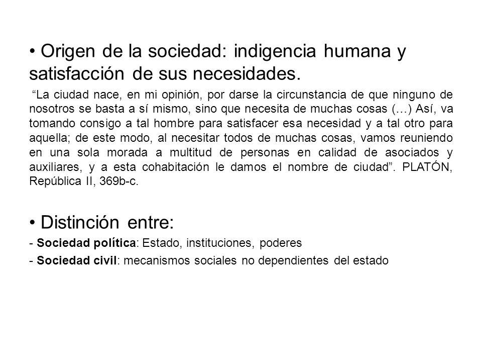 Origen de la sociedad: indigencia humana y satisfacción de sus necesidades.