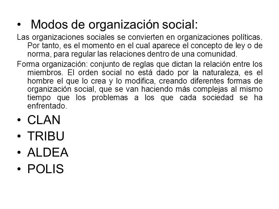 Modos de organización social: