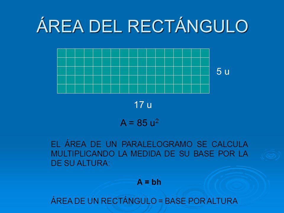 ÁREA DEL RECTÁNGULO 5 u 17 u A = 85 u2