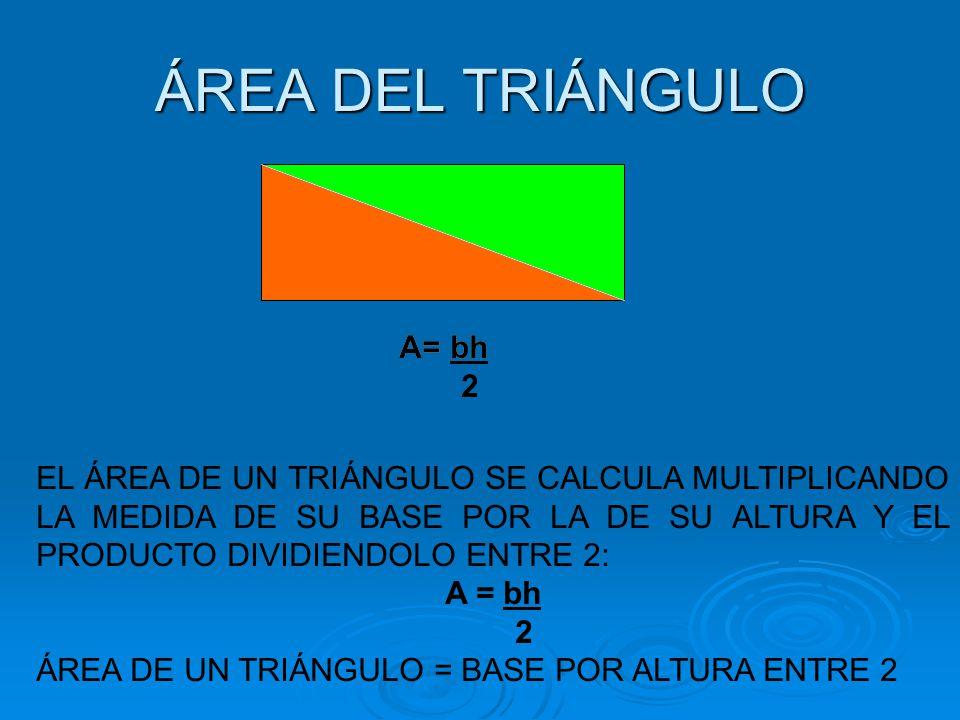 ÁREA DEL TRIÁNGULO A= bh 2 A= bh