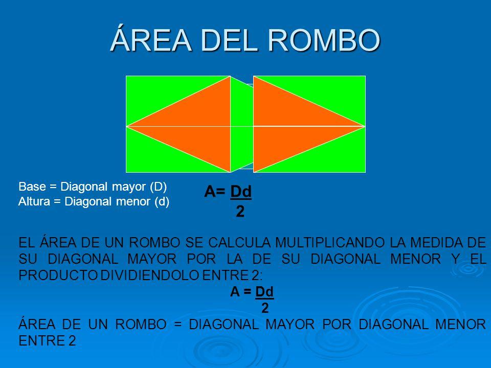 ÁREA DEL ROMBO Base = Diagonal mayor (D) A= Dd. 2. Altura = Diagonal menor (d)