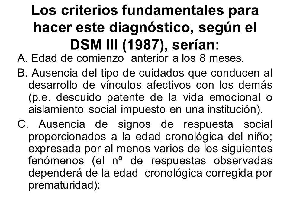 Los criterios fundamentales para hacer este diagnóstico, según el DSM III (1987), serían: