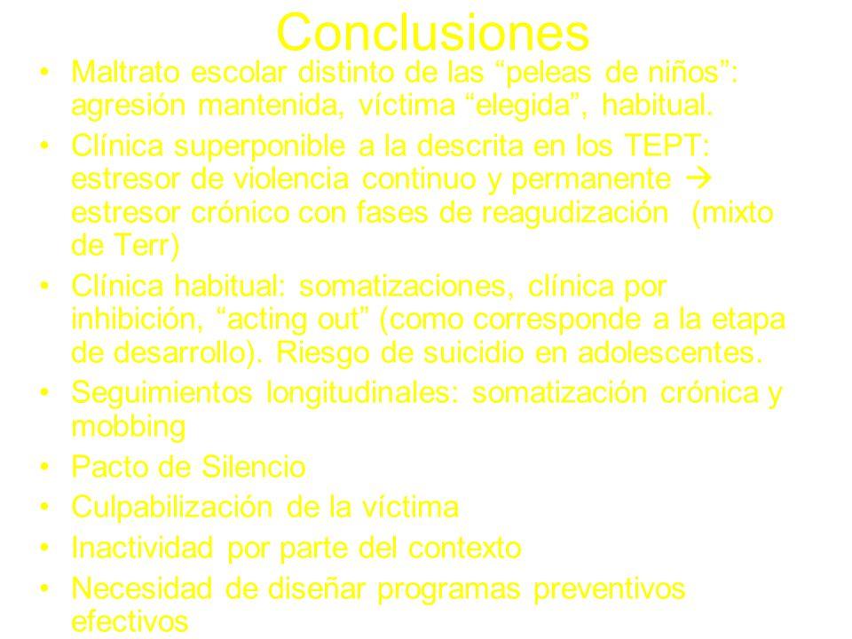 ConclusionesMaltrato escolar distinto de las peleas de niños : agresión mantenida, víctima elegida , habitual.