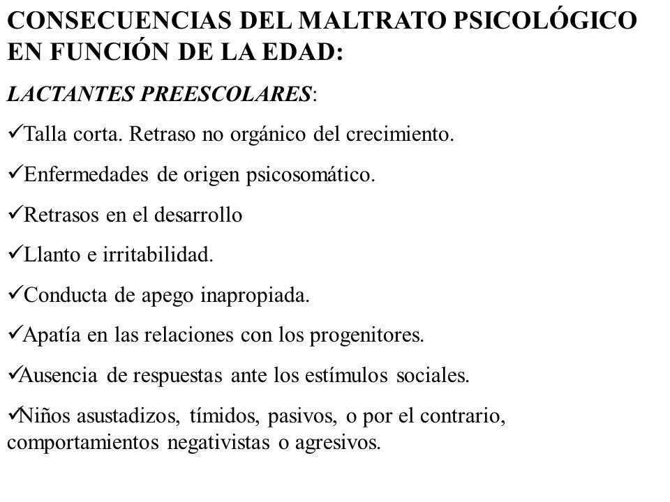 CONSECUENCIAS DEL MALTRATO PSICOLÓGICO EN FUNCIÓN DE LA EDAD: