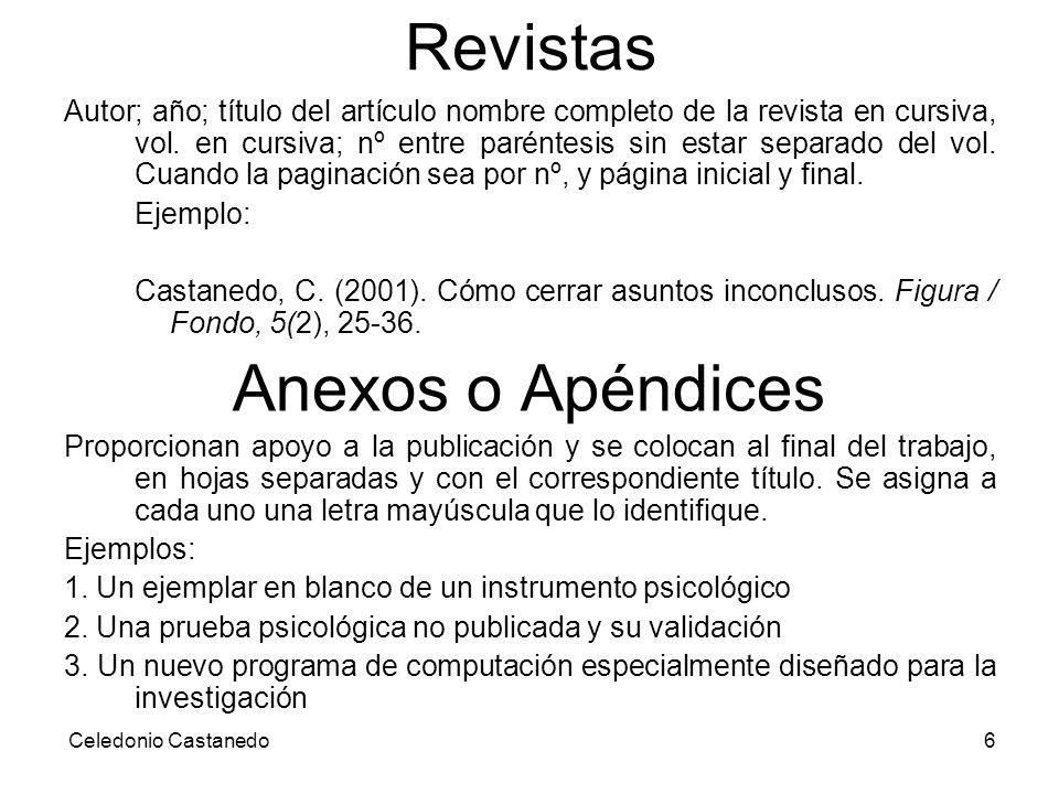 Revistas Anexos o Apéndices