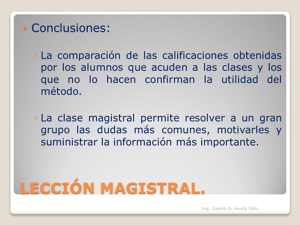 LECCIÓN MAGISTRAL. Conclusiones: