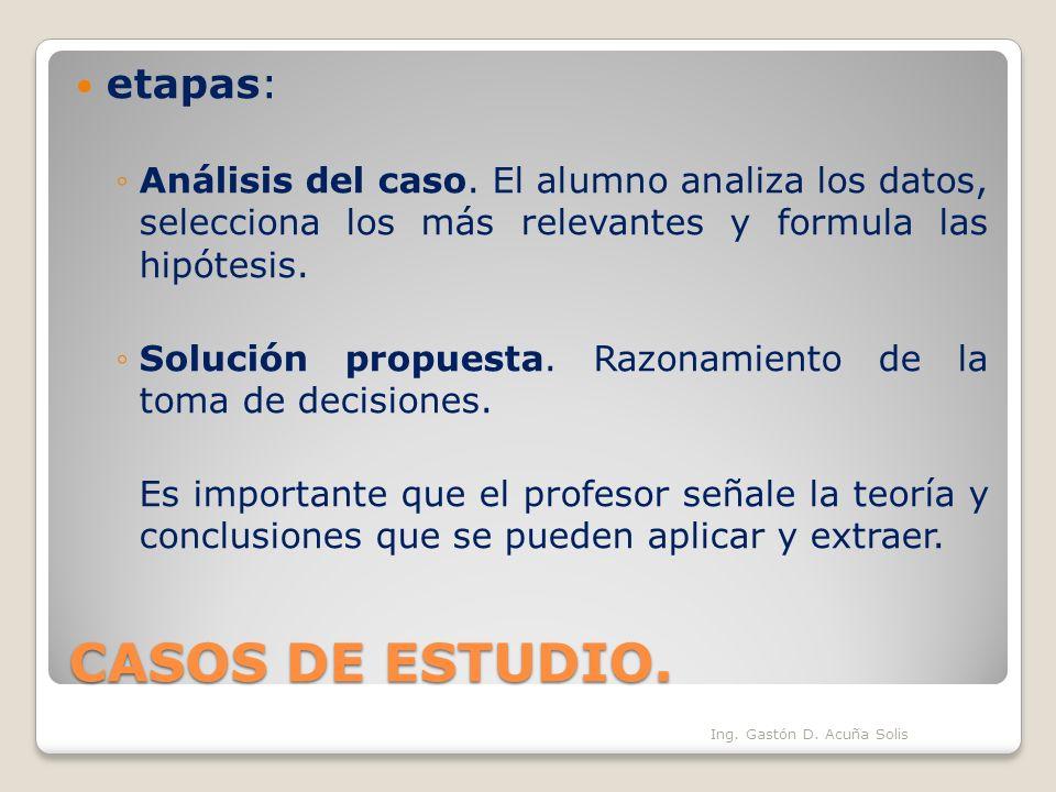 CASOS DE ESTUDIO. etapas:
