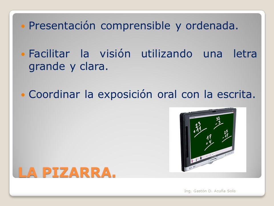 LA PIZARRA. Presentación comprensible y ordenada.