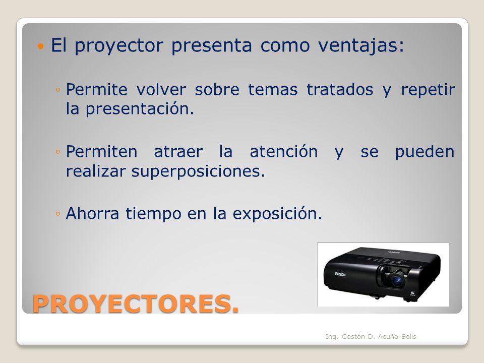 PROYECTORES. El proyector presenta como ventajas: