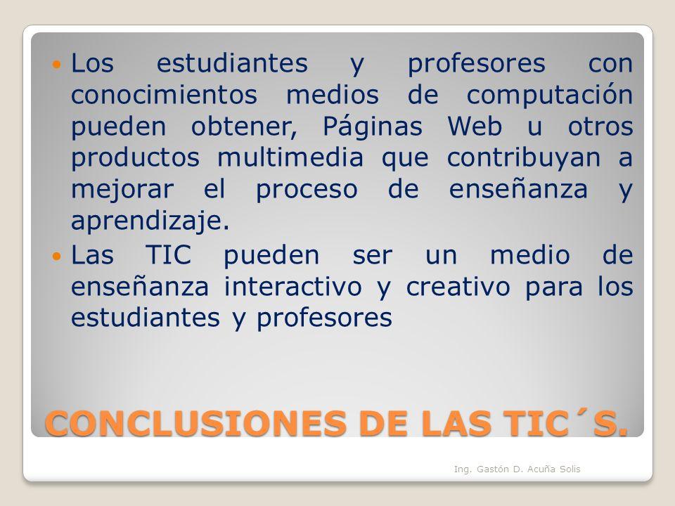 CONCLUSIONES DE LAS TIC´S.