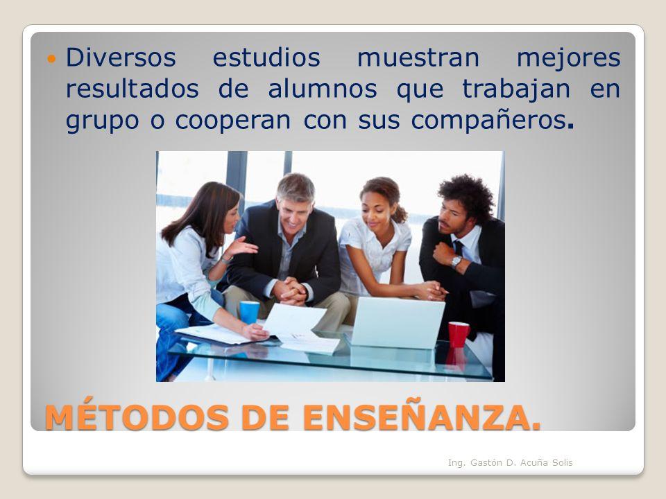 Diversos estudios muestran mejores resultados de alumnos que trabajan en grupo o cooperan con sus compañeros.