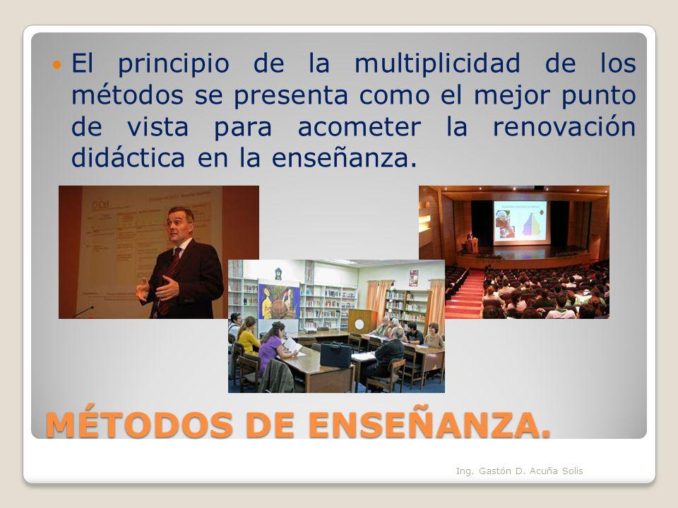 El principio de la multiplicidad de los métodos se presenta como el mejor punto de vista para acometer la renovación didáctica en la enseñanza.