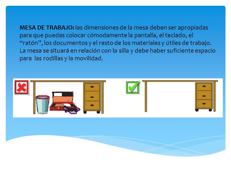 MESA DE TRABAJO: las dimensiones de la mesa deben ser apropiadas para que puedas colocar cómodamente la pantalla, el teclado, el ratón , los documentos y el resto de los materiales y útiles de trabajo.