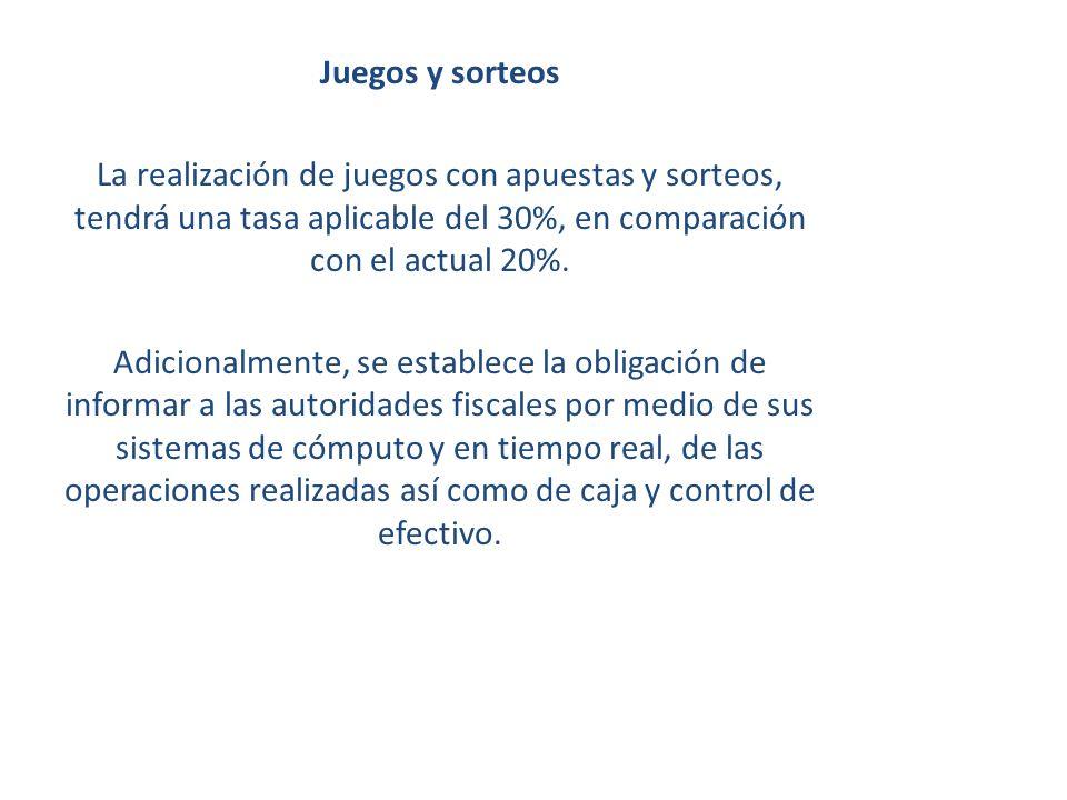 Juegos y sorteos La realización de juegos con apuestas y sorteos, tendrá una tasa aplicable del 30%, en comparación con el actual 20%.