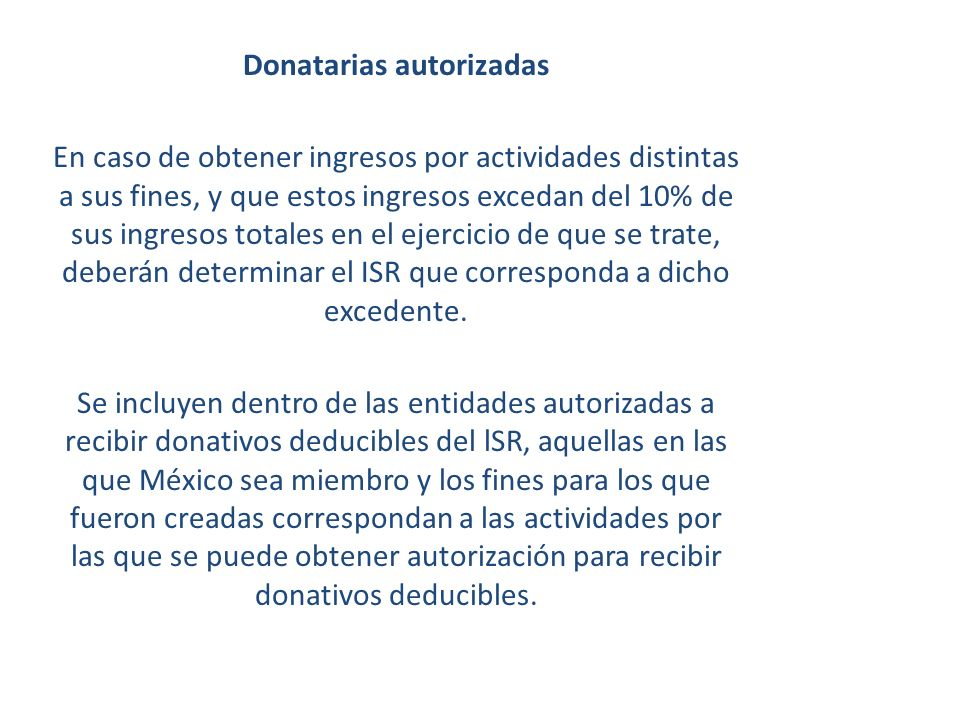 Donatarias autorizadas