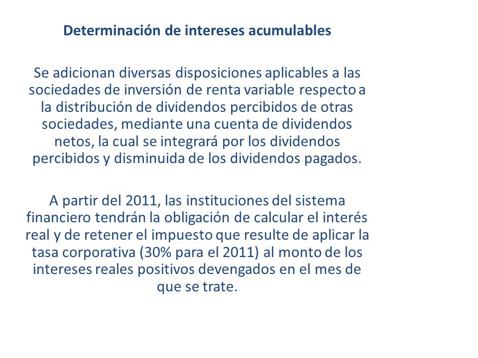 Determinación de intereses acumulables