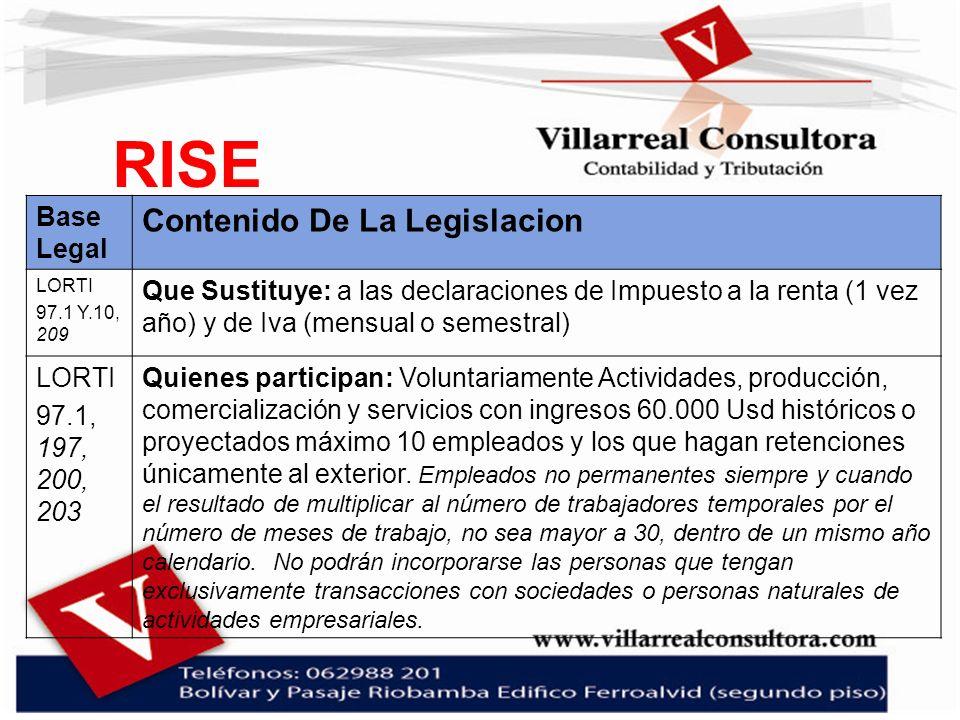 RISE Contenido De La Legislacion Base Legal