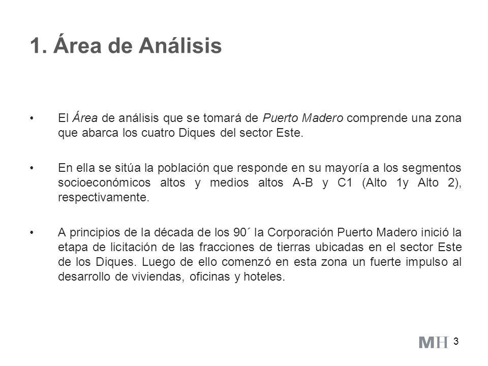 1. Área de Análisis El Área de análisis que se tomará de Puerto Madero comprende una zona que abarca los cuatro Diques del sector Este.