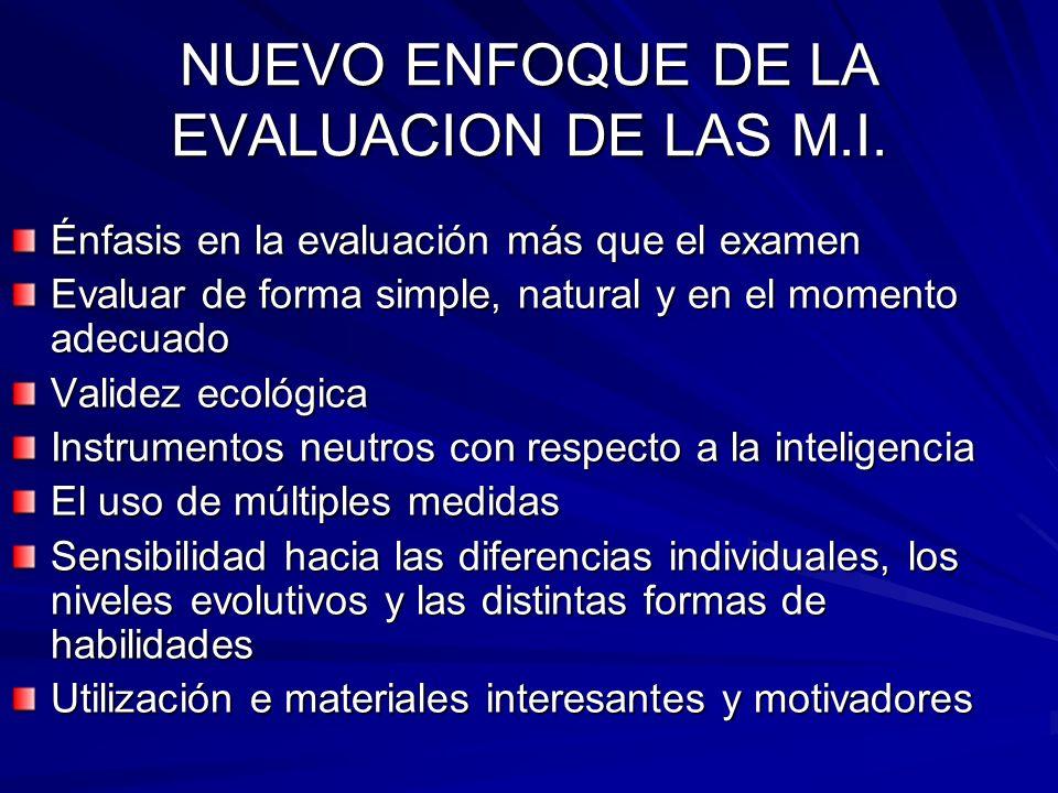 NUEVO ENFOQUE DE LA EVALUACION DE LAS M.I.