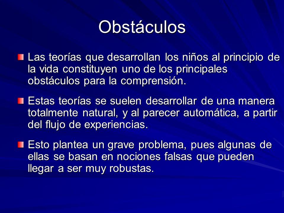 ObstáculosLas teorías que desarrollan los niños al principio de la vida constituyen uno de los principales obstáculos para la comprensión.