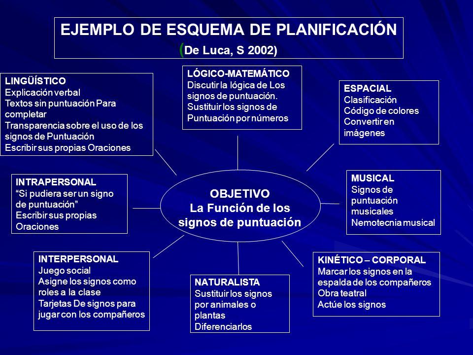 EJEMPLO DE ESQUEMA DE PLANIFICACIÓN (De Luca, S 2002)
