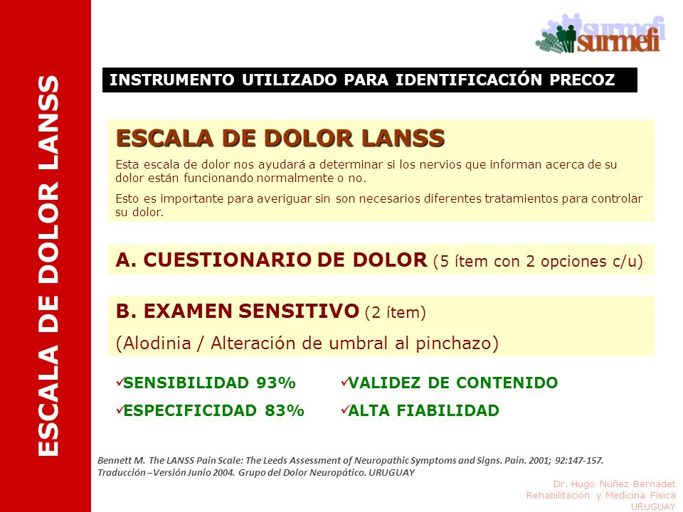 ESCALA DE DOLOR LANSS ESCALA DE DOLOR LANSS